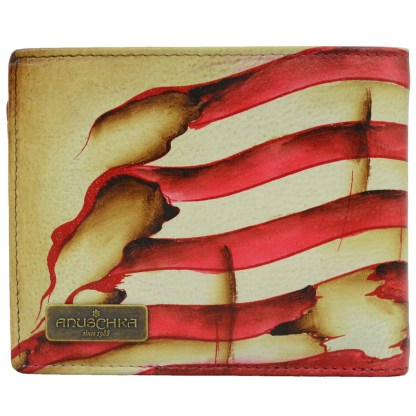 Anuschka Leather RFID Men's Two Fold Wallet with Insert Stars and Stripes