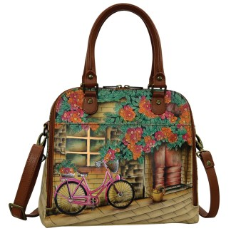 Anuschka Convertible Satchel- Hand Painted Real Leather Handbag  Vintage Bike