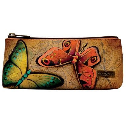 Anuschka Genuine Handpainted Leather Cosmetic Case Wallet Pouch Earth Song