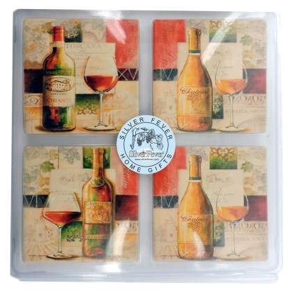 Tumbled Tile Coasters Set of 4-Silver Fever- Coffee Cup Drinks Wine - Cork Back Non-Slip Coaster -Noble Wines