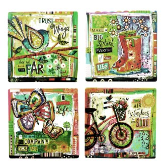 Tumbled Tile Coasters Set of 4-Silver Fever- Coffee Cup Drinks Wine - Cork Back Non-Slip Coaster -Vintage Bike Happy Life