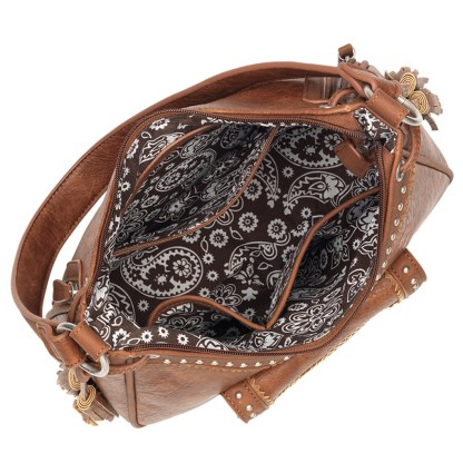 American West Bandana Concealed Cary Hobo Bag Copper Guns & Roses