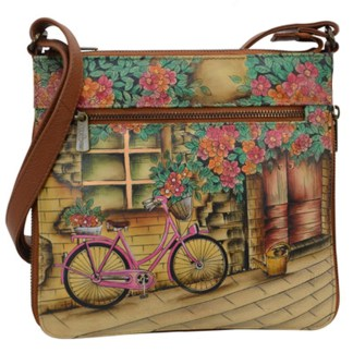 Anushcka Medium Cross Body  Bag Handpainted Leather Vintage Bike