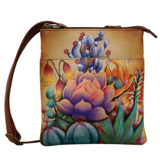 Anuschka RFID Blocking Travel Bag - Triple Compartment Organizer - Handpainted Leather Desert Sunset