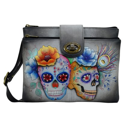 Anuschka RFID Double Zip Organizer Bag Handpainted Leather Calaveras de Azucar
