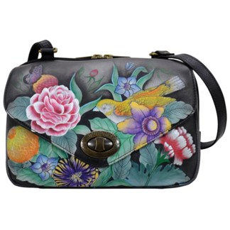Anuschka Leather Convertible Organizer Bag Handpainted Vintage Bouquet