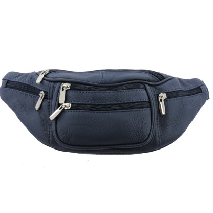 Silver Fever Genuine Leather Fanny Pack Waist Bag Phone Holder Navy