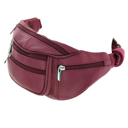 Silver Fever Genuine Leather Fanny Pack Waist Bag Phone Holder Red