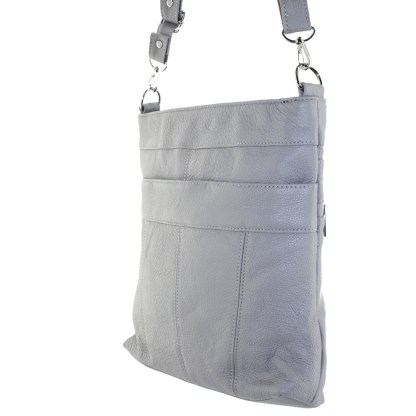 Silver Fever Leather Messenger Shoulder Cross Body Bag Ipad Compatible Unisex Gray