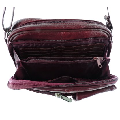 Silver Fever® Genuine Leather  French Kiss Cross Body Organizer Bag Wine
