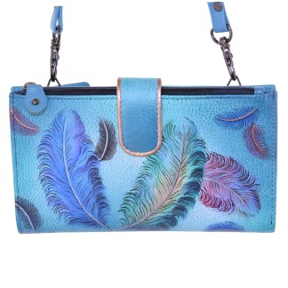 Anuschka Large Smart Phone Case & Wallet Bag Genuine Handpainted Leather Floating Feathers