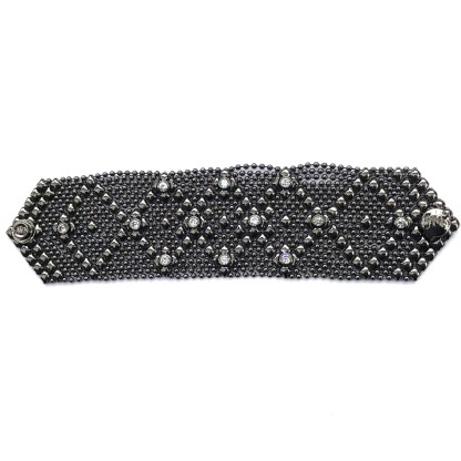 Sergio Gutierrez Liquid Metal Wide Dimond Bracelet Chrome Clear CZ Studded