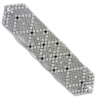 Sergio Gutierrez Liquid Metal Wide Dimond Bracelet Black CZ Studded