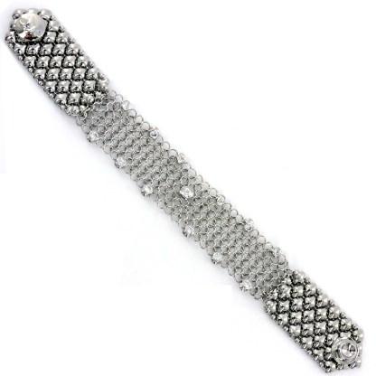 """Sergio Gutierrez Liquid Metal Chain Mail Bracelet 7/8"""" Wide CZ Studded"""