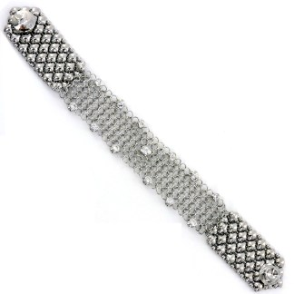 "Sergio Gutierrez Liquid Metal Chain Mail Bracelet 7/8"" Wide CZ Studded"