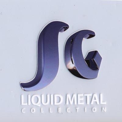 Sergio Gutierrez Liquid Metal Wide Dimond Bracelet Chrome Clear CZ Studded