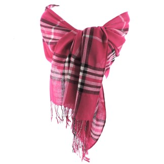 SILVERFEVER Classic Plaid Scarf Winter Pashmina Wrap  Hot Pink