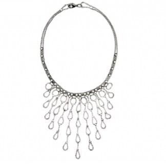 "Sergio Gutierrez Liquid Metal Tussle Bib Necklace 17"" L"