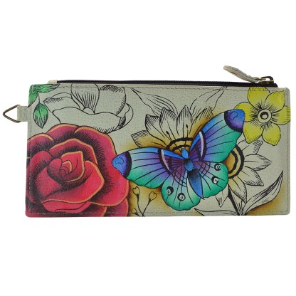 Anna by Anuschka Leather Ladies Organizer Wallet - Floral Paradise