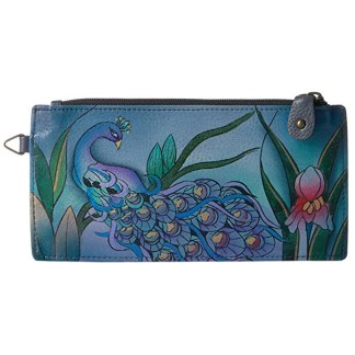 Anna by Anuschka Leather Ladies Organizer Wallet  - Midnight Peacock Grey