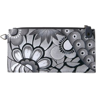 Anna by Anuschka Leather Ladies Organizer Wallet  - Patchwork Pewter