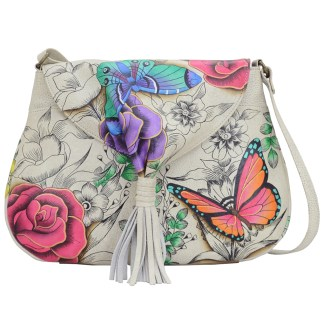 Anna by Anuschka Leather Flap Hobo w Tussle - Floral Paradise