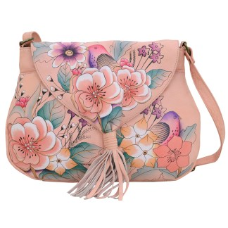 Anna by Anuschka Leather Flap Hobo w Tussle - Vintage Garden