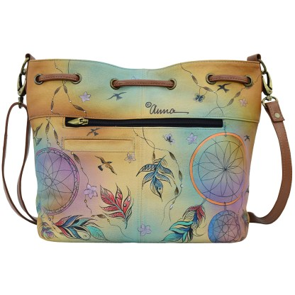 Anna by Anuschka Leather Large Drawstring Satchel - Lavender Bees Haven