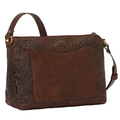 American West Leather Cross Body  Handbag - Golden Tan- Dove Canyon