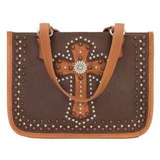 American West Leather Tote - Multi Compartment Carry on Bag -  Golden - Las Cruces
