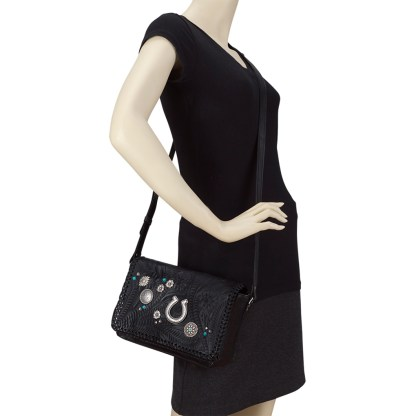 American West Leather Cross Body  Handbag - Black-Lariat Love