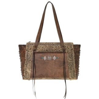 American West Leather Tote - Multi Compartment Carry on Bag -  Sand  - Rio Grande