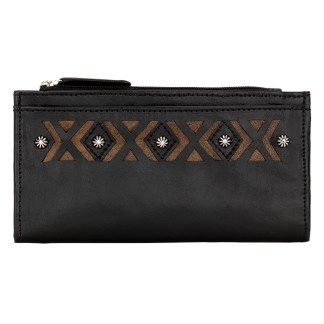American West Leather Ladies' Tri-Fold French Wallet  Black Distressed Charcoal Brown