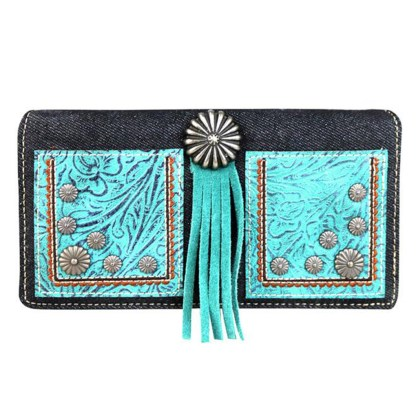 Montana West Clutch Style Secretary Wristlet Wallet Black Floral Concho w Tussle