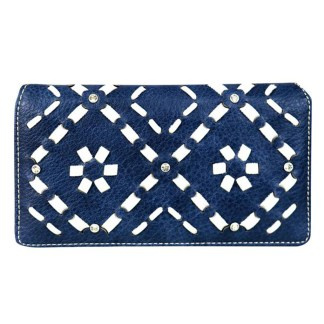 Montana West Clutch Style Secretary Wristlet Wallet Navy Aztec Pattern