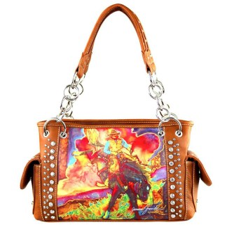 Montana West Western Bling Collection Satchel Handbag  Brown Rodeo Art Concealed Carry