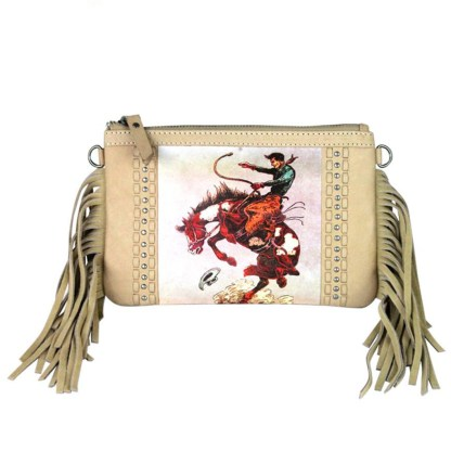 Montana West Genuine Leather Clutch Handbag Cowboy Pictures Tan Rodeo Collection 1