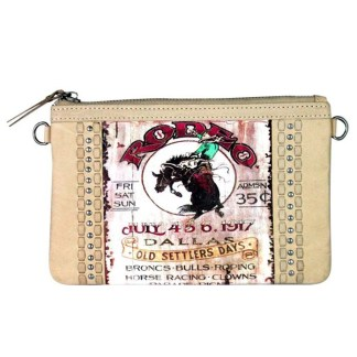 Montana West Genuine Leather Clutch Handbag Cowboy Pictures Tan Rodeo Collection 4
