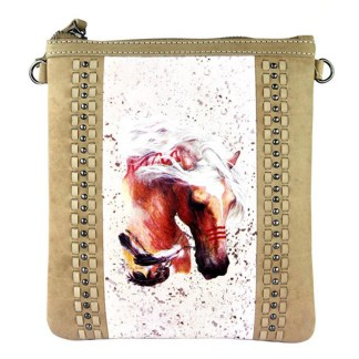 Montana West Genuine Leather Handcrafted Crossbody Handbag Tan Rodeo Collection 3