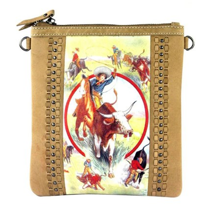 Montana West Genuine Leather Handcrafted Crossbody Handbag Tan Rodeo Collection 7