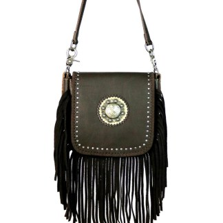 Montana West Genuine Leather Handcrafted Crossbody Handbag Coffee Berry Concho & Fringe