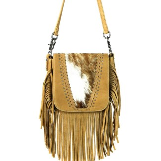 Montana West Genuine Leather Handcrafted Crossbody Handbag Tan Hair On Whipstitched Fringe