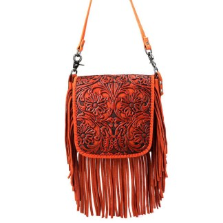 Montana West Genuine Leather Handcrafted Crossbody Handbag Coral Tooled Fringe