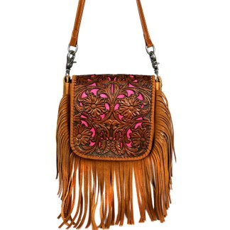 Montana West Genuine Leather Handcrafted Crossbody Handbag Brown Tooled Fringe w Charger