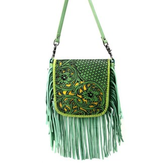 Montana West Genuine Leather Handcrafted Crossbody Handbag Lime Tooled w Inlay & Fringe