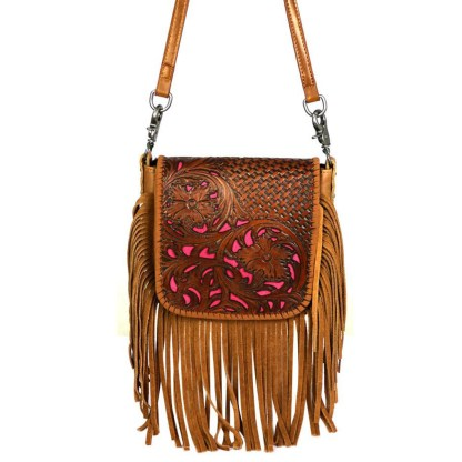 Montana West Genuine Leather Handcrafted Crossbody Handbag Brown Tooled w Inlay Fringe & Charger