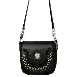 Montana West Genuine Leather Handcrafted Crossbody Handbag Black Daisy Concho