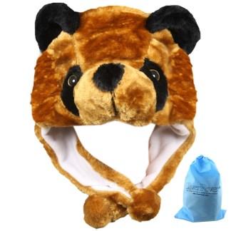 SILVERFEVER Plush Soft Animal Beanie Ski Hat Black Bear