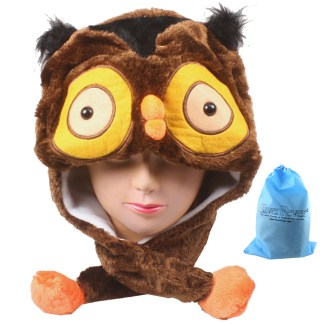 SILVERFEVER Plush Soft Animal Beanie Ski Hat Owl