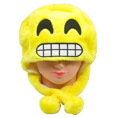 SILVERFEVER Plush Soft Animal Beanie Ski Hat Emoji Grinning Smile